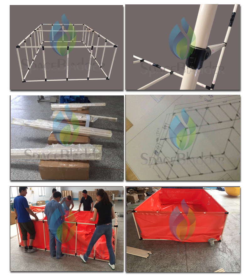 Custom-made PVC Tarpaulin Fish Farming Tank Collapsible Aquaculture Tanks